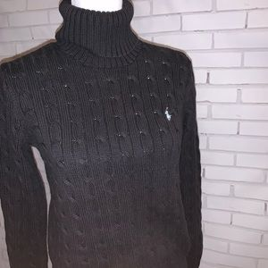 Ralph Lauren Sport cable knit sweater - L - black